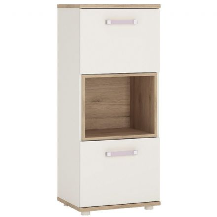 4KIDS 2 door narrow cabinet with open shelf in light oak and white high gloss with lilac handles